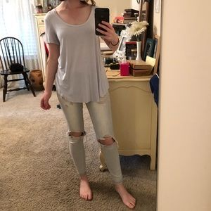 American Eagle Soft and Sexy Sky Blue Blouse Tee